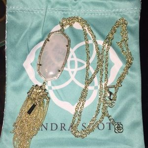 Kendra Scott Rayne Necklace in Gold & Rose Quartz